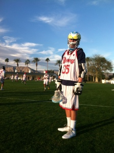 Tyler Jenkel from Torrey Pines High School ready to play for Donny Lax at the Sandstorm lacrosse tournament